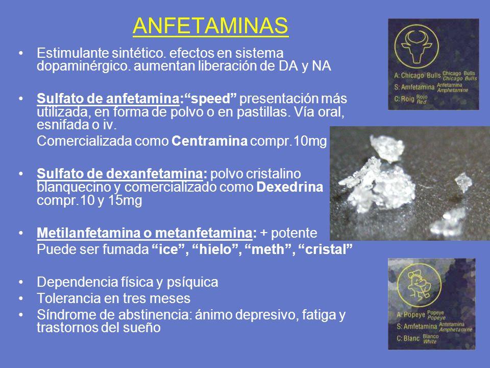 ANFETAMINAS Estimulante sintético. efectos en sistema dopaminérgico. aumentan liberación de DA y NA.