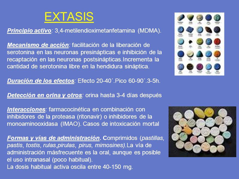 EXTASIS Principio activo: 3,4-metilendioximetanfetamina (MDMA).