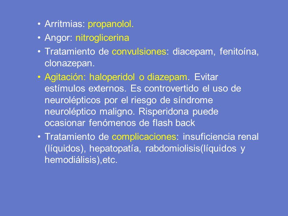 Arritmias: propanolol.