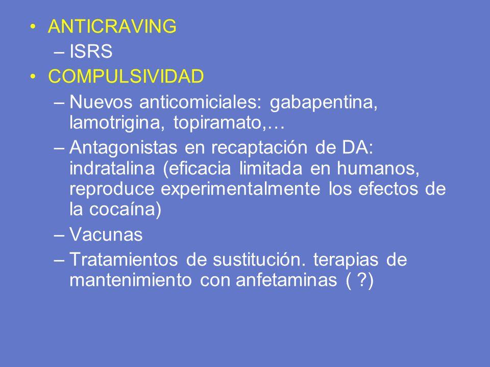 ANTICRAVING ISRS. COMPULSIVIDAD. Nuevos anticomiciales: gabapentina, lamotrigina, topiramato,…