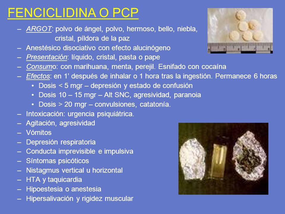 FENCICLIDINA O PCP ARGOT: polvo de ángel, polvo, hermoso, bello, niebla, cristal, píldora de la paz.