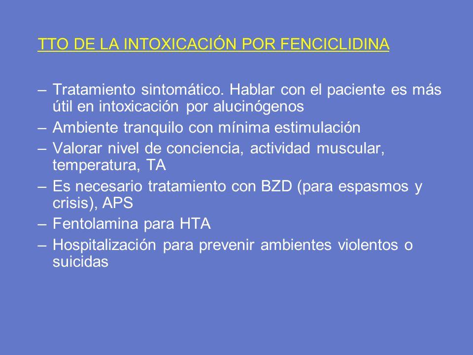 TTO DE LA INTOXICACIÓN POR FENCICLIDINA