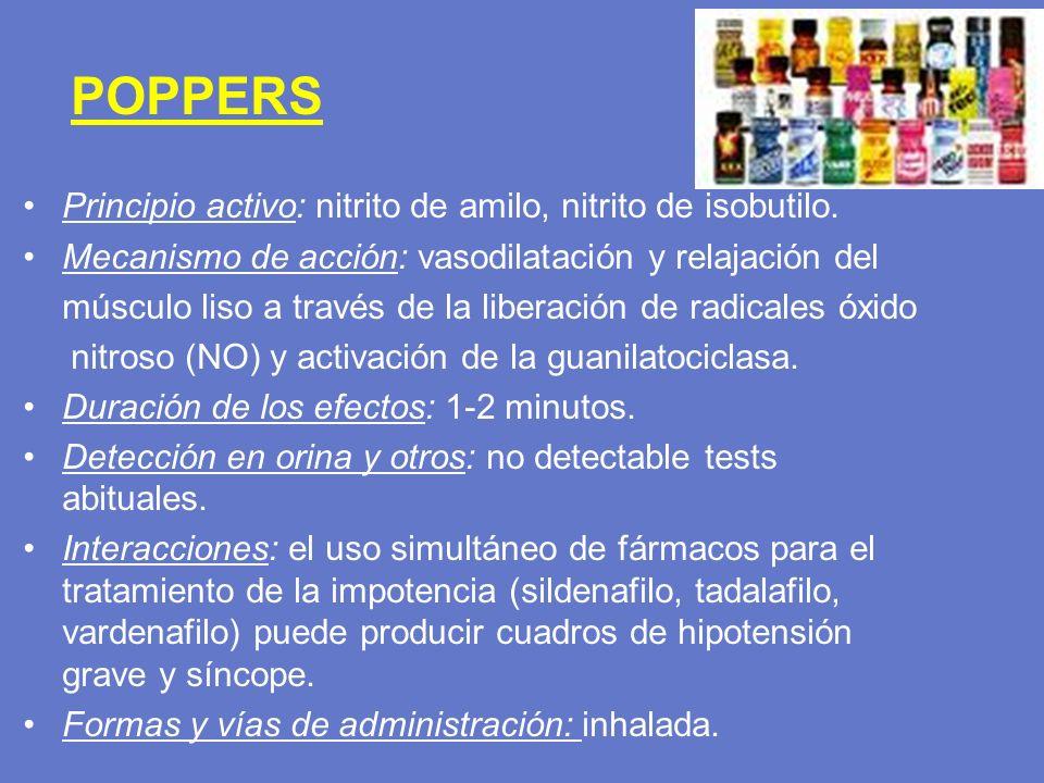 POPPERS Principio activo: nitrito de amilo, nitrito de isobutilo. Mecanismo de acción: vasodilatación y relajación del.