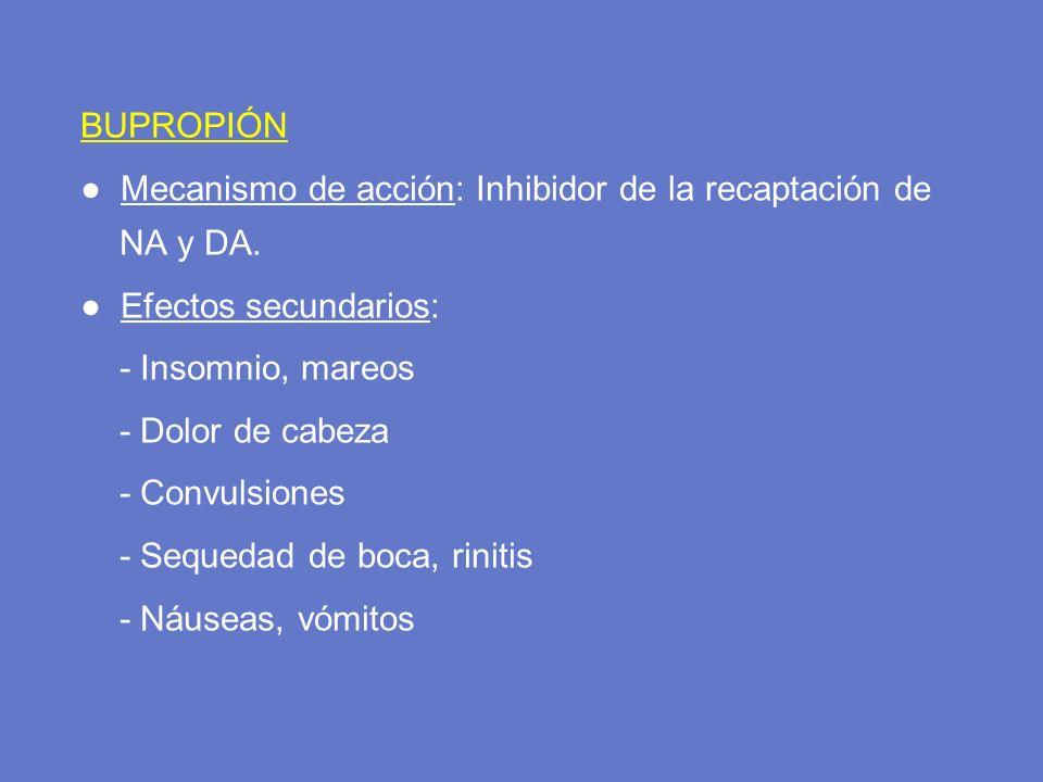 BUPROPIÓN ● Mecanismo de acción: Inhibidor de la recaptación de NA y DA. ● Efectos secundarios: - Insomnio, mareos.