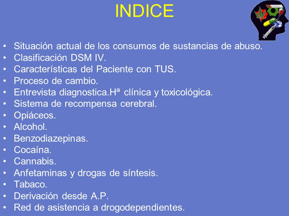 INDICE Situación actual de los consumos de sustancias de abuso.