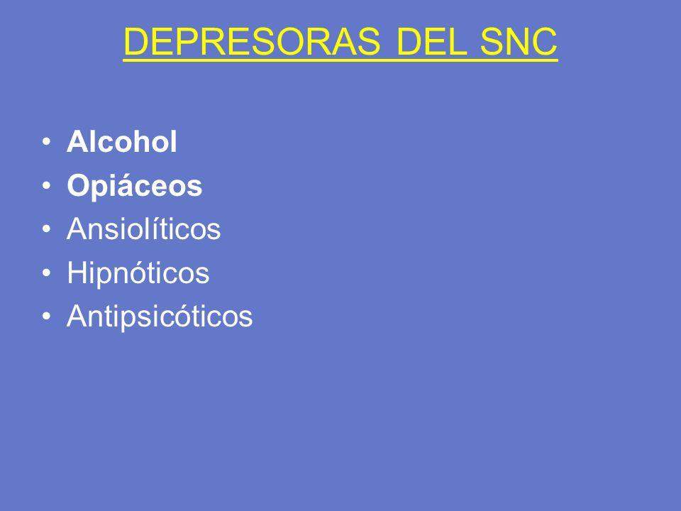 DEPRESORAS DEL SNC Alcohol Opiáceos Ansiolíticos Hipnóticos