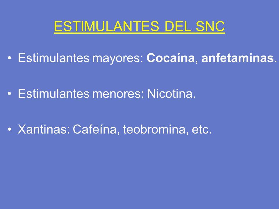 ESTIMULANTES DEL SNC Estimulantes mayores: Cocaína, anfetaminas.