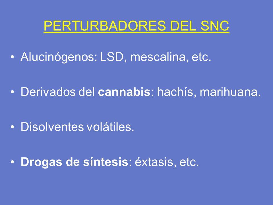 PERTURBADORES DEL SNC Alucinógenos: LSD, mescalina, etc.