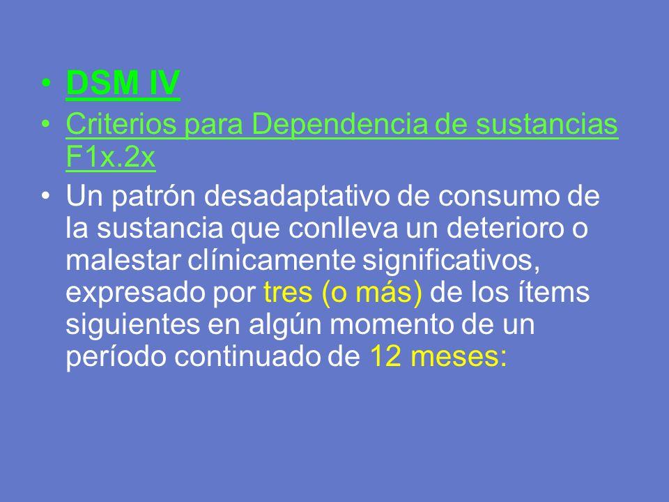 DSM IV Criterios para Dependencia de sustancias F1x.2x