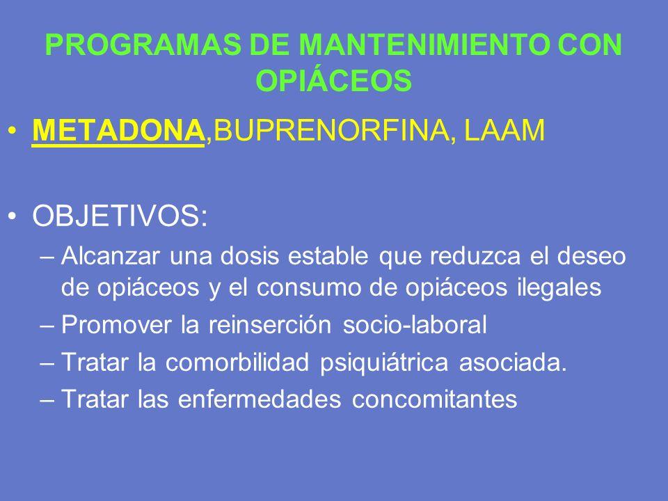 PROGRAMAS DE MANTENIMIENTO CON OPIÁCEOS