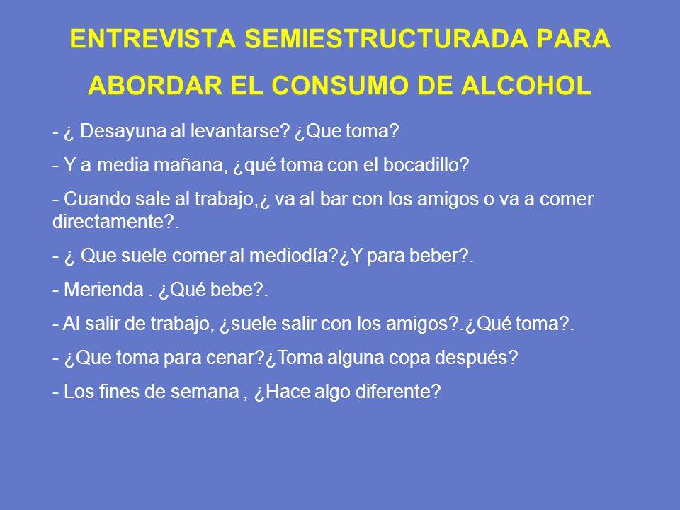 ENTREVISTA SEMIESTRUCTURADA PARA ABORDAR EL CONSUMO DE ALCOHOL