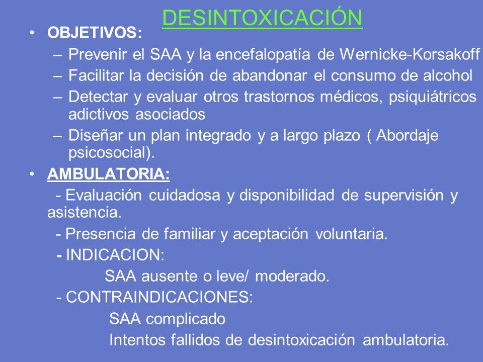 DESINTOXICACIÓN OBJETIVOS: