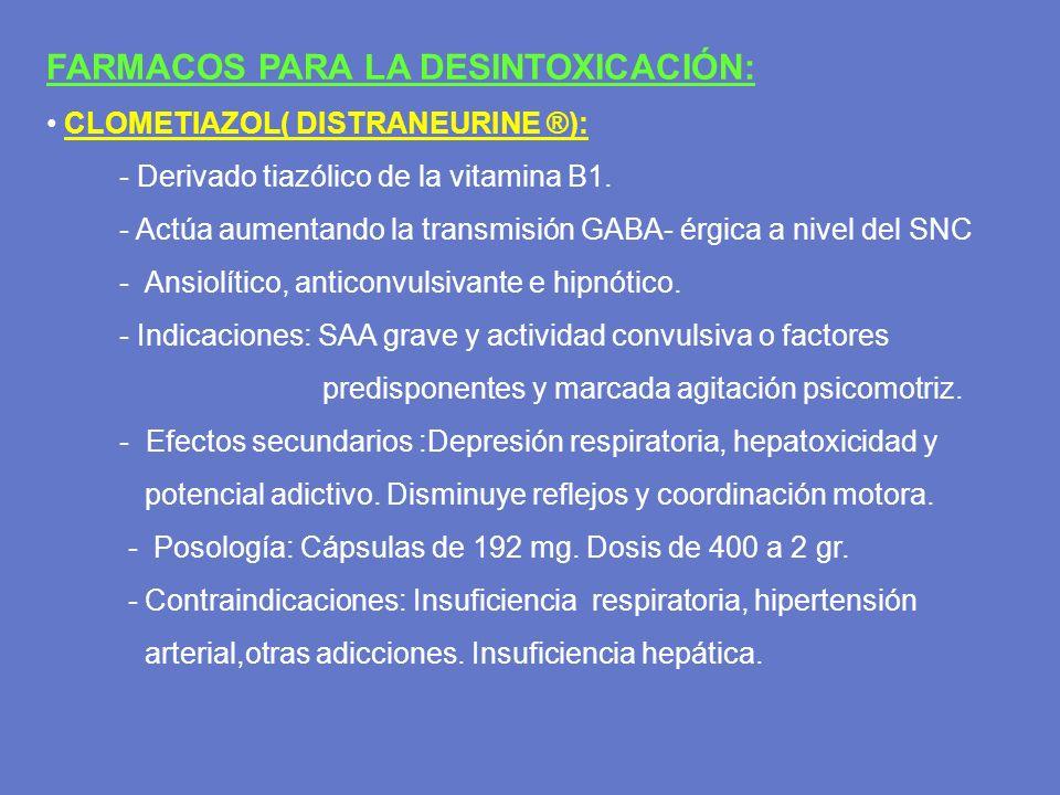 FARMACOS PARA LA DESINTOXICACIÓN:
