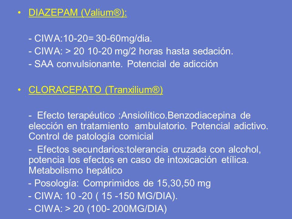DIAZEPAM (Valium®): - CIWA:10-20= 30-60mg/dia. - CIWA: > 20 10-20 mg/2 horas hasta sedación. - SAA convulsionante. Potencial de adicción.