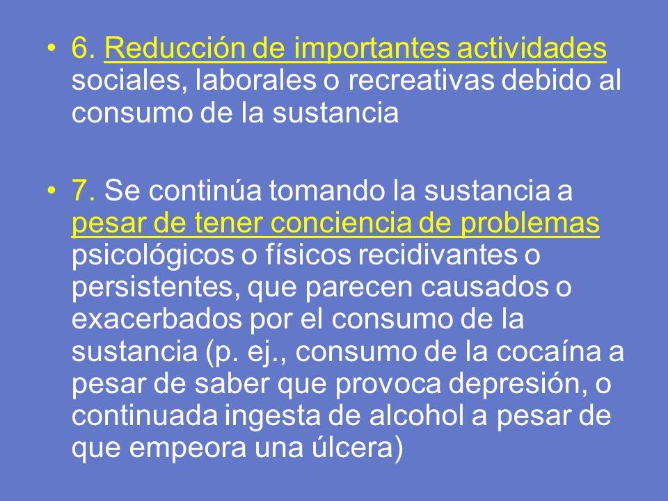 6. Reducción de importantes actividades sociales, laborales o recreativas debido al consumo de la sustancia