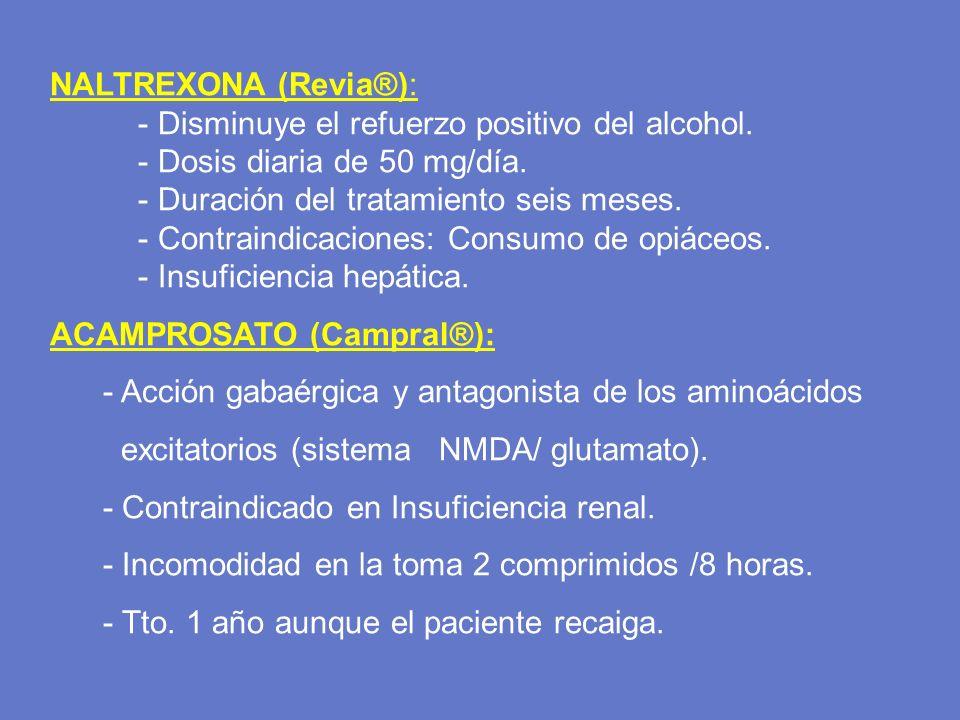 NALTREXONA (Revia®): - Disminuye el refuerzo positivo del alcohol. - Dosis diaria de 50 mg/día. - Duración del tratamiento seis meses.