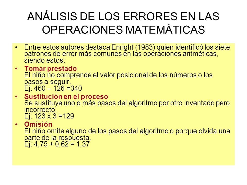 ANÁLISIS DE LOS ERRORES EN LAS OPERACIONES MATEMÁTICAS