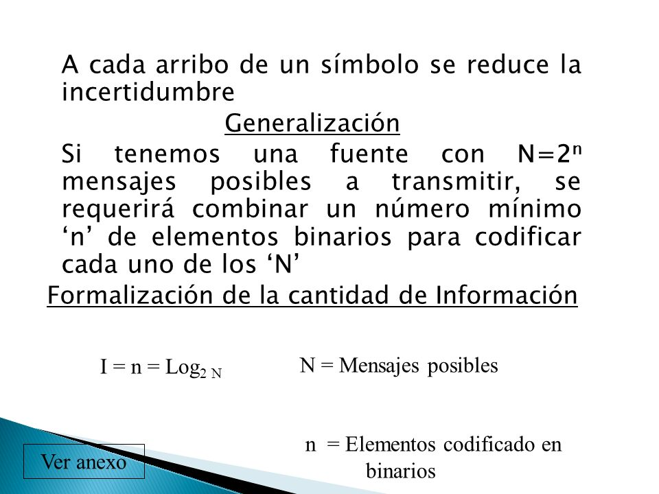Formalización de la cantidad de Información