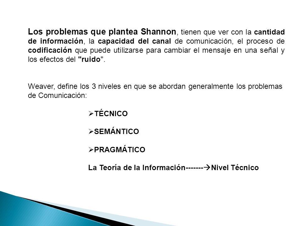 Los problemas que plantea Shannon, tienen que ver con la cantidad de información, la capacidad del canal de comunicación, el proceso de codificación que puede utilizarse para cambiar el mensaje en una señal y los efectos del ruido .
