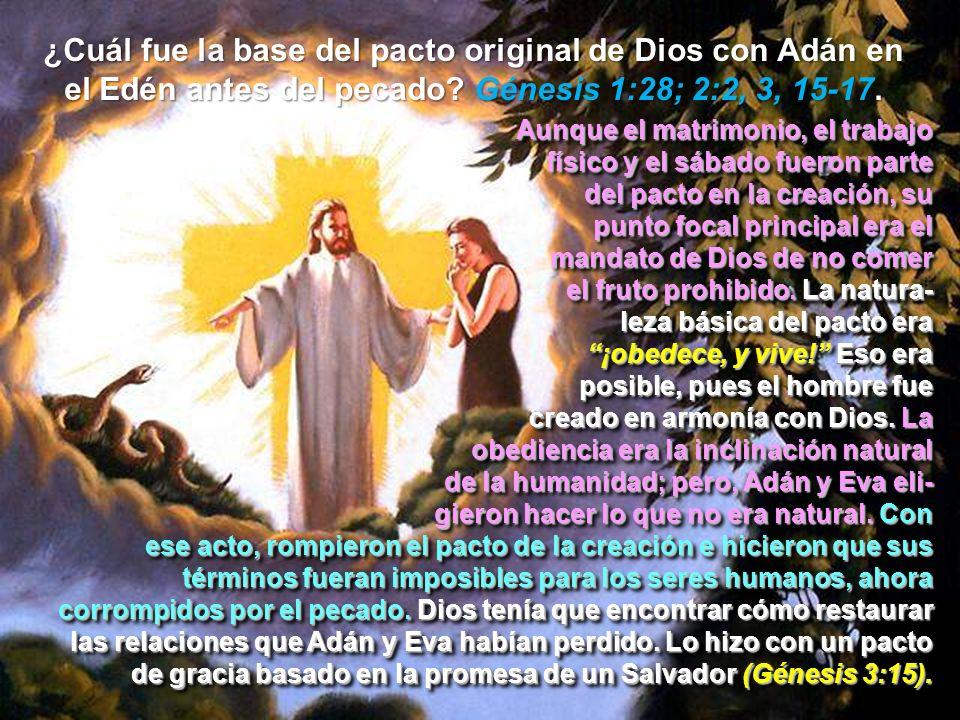 ¿Cuál fue la base del pacto original de Dios con Adán en el Edén antes del pecado Génesis 1:28; 2:2, 3, 15-17.