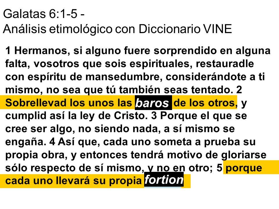 Galatas 6:1-5 - Análisis etimológico con Diccionario VINE