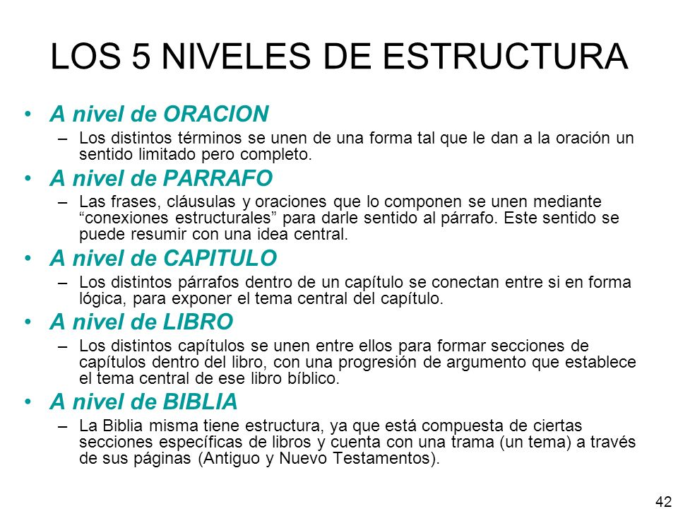 LOS 5 NIVELES DE ESTRUCTURA