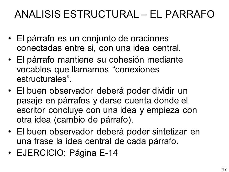 ANALISIS ESTRUCTURAL – EL PARRAFO