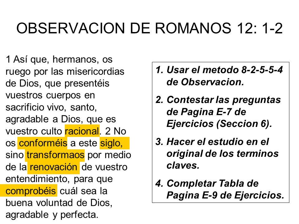OBSERVACION DE ROMANOS 12: 1-2