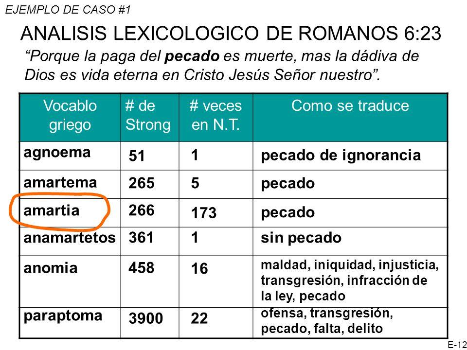 ANALISIS LEXICOLOGICO DE ROMANOS 6:23