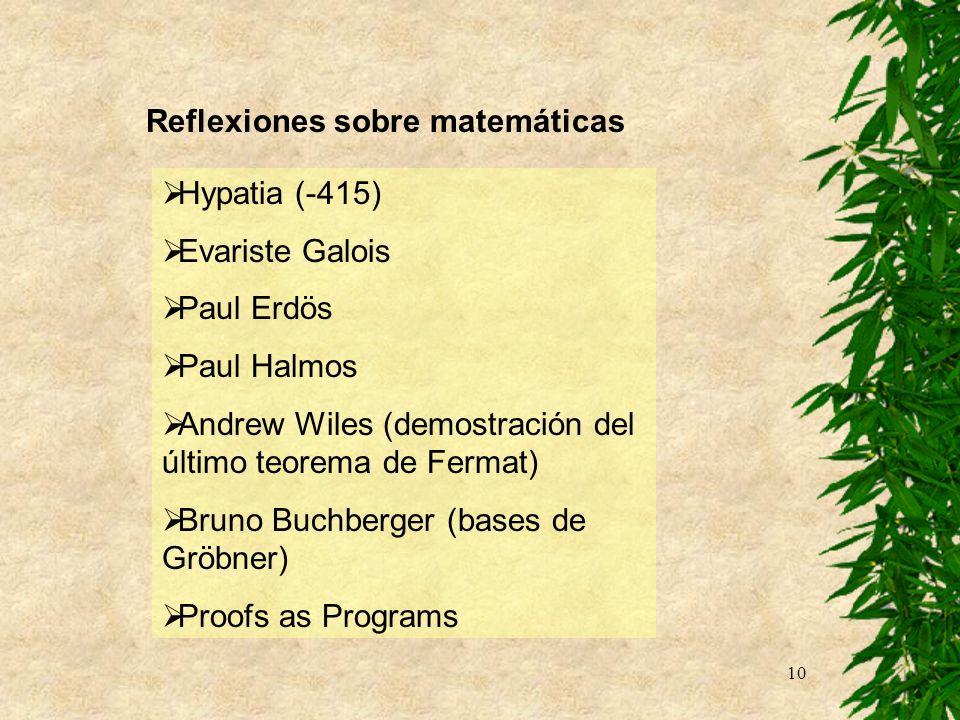 Reflexiones sobre matemáticas