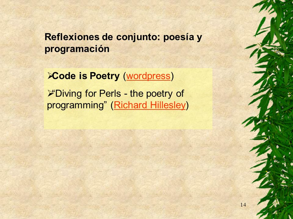 Reflexiones de conjunto: poesía y programación