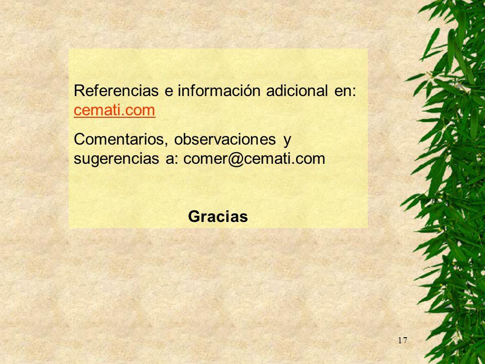 Referencias e información adicional en: cemati.com