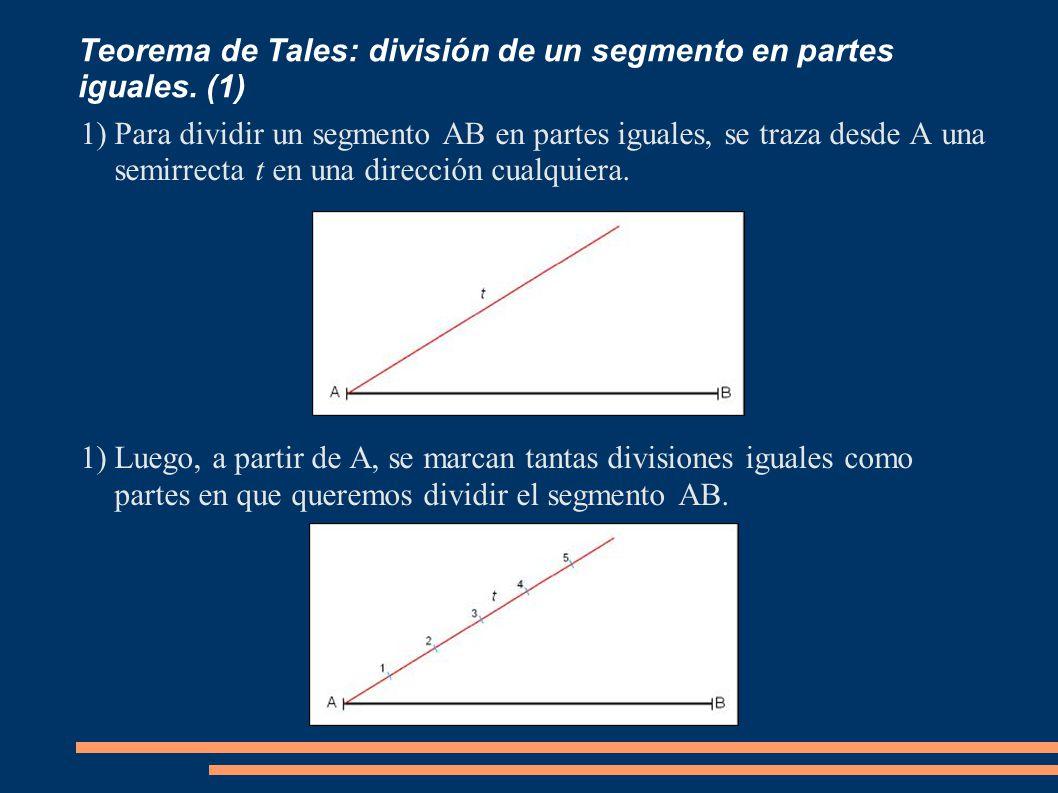 Teorema de Tales: división de un segmento en partes iguales. (1)