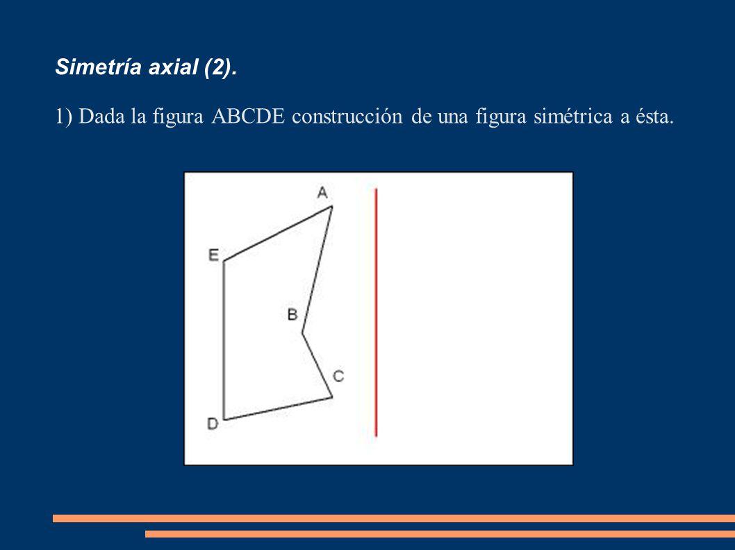 Simetría axial (2). Dada la figura ABCDE construcción de una figura simétrica a ésta.