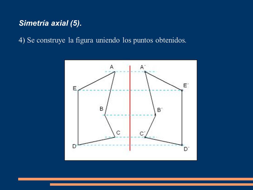 Simetría axial (5). Se construye la figura uniendo los puntos obtenidos.