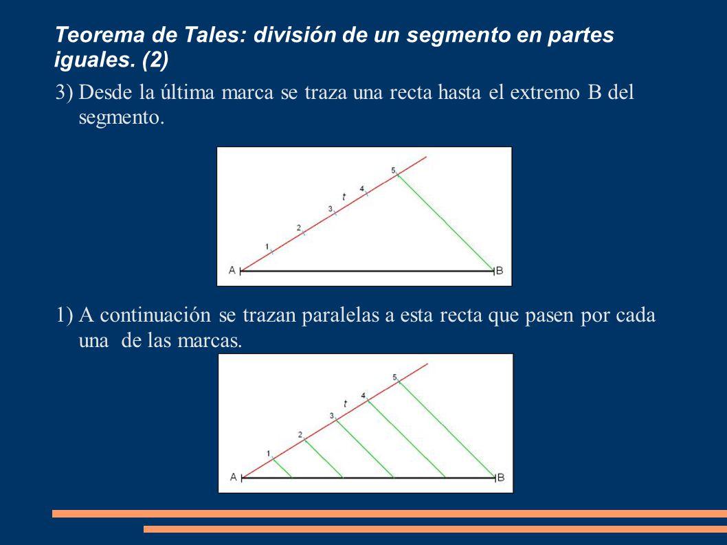 Teorema de Tales: división de un segmento en partes iguales. (2)