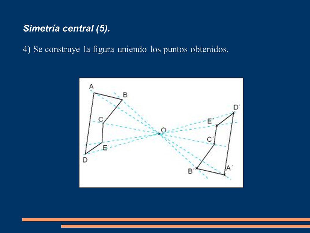 Simetría central (5). Se construye la figura uniendo los puntos obtenidos.