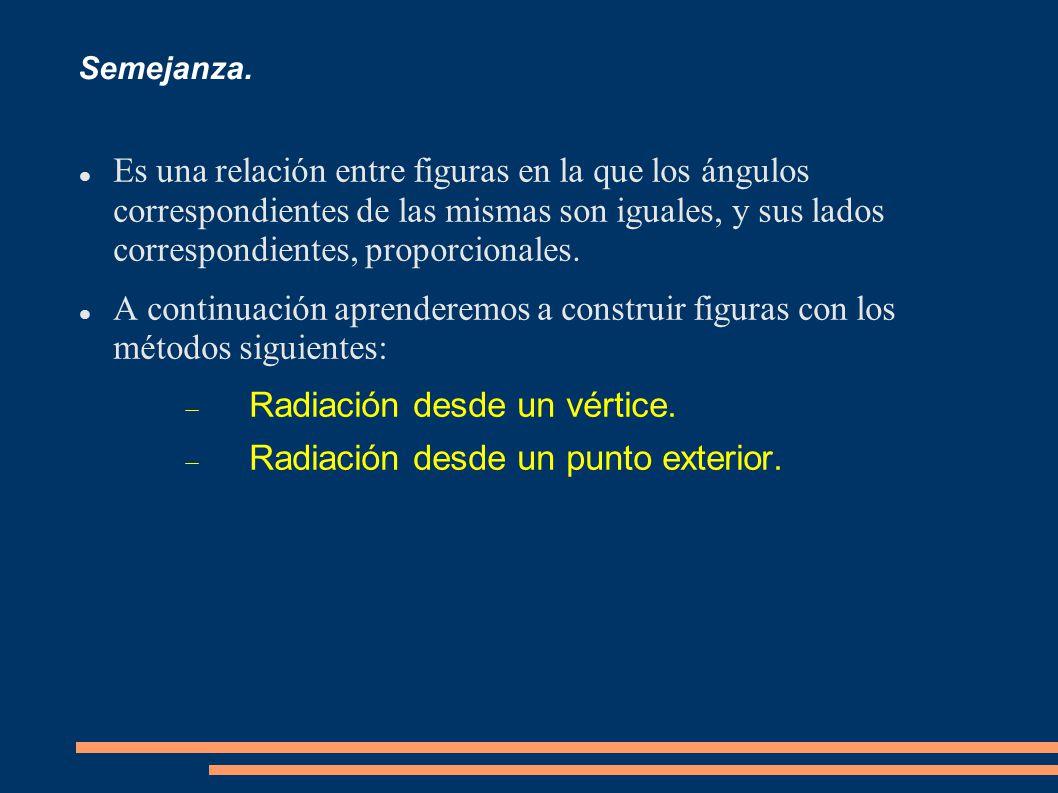 Radiación desde un vértice. Radiación desde un punto exterior.