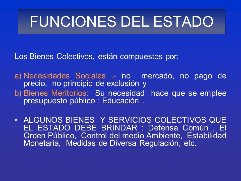 FUNCIONES DEL ESTADO Los Bienes Colectivos, están compuestos por: