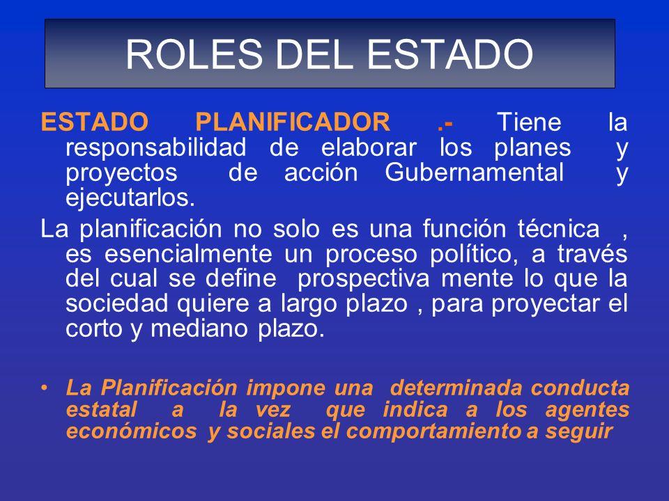 ROLES DEL ESTADO ESTADO PLANIFICADOR .- Tiene la responsabilidad de elaborar los planes y proyectos de acción Gubernamental y ejecutarlos.