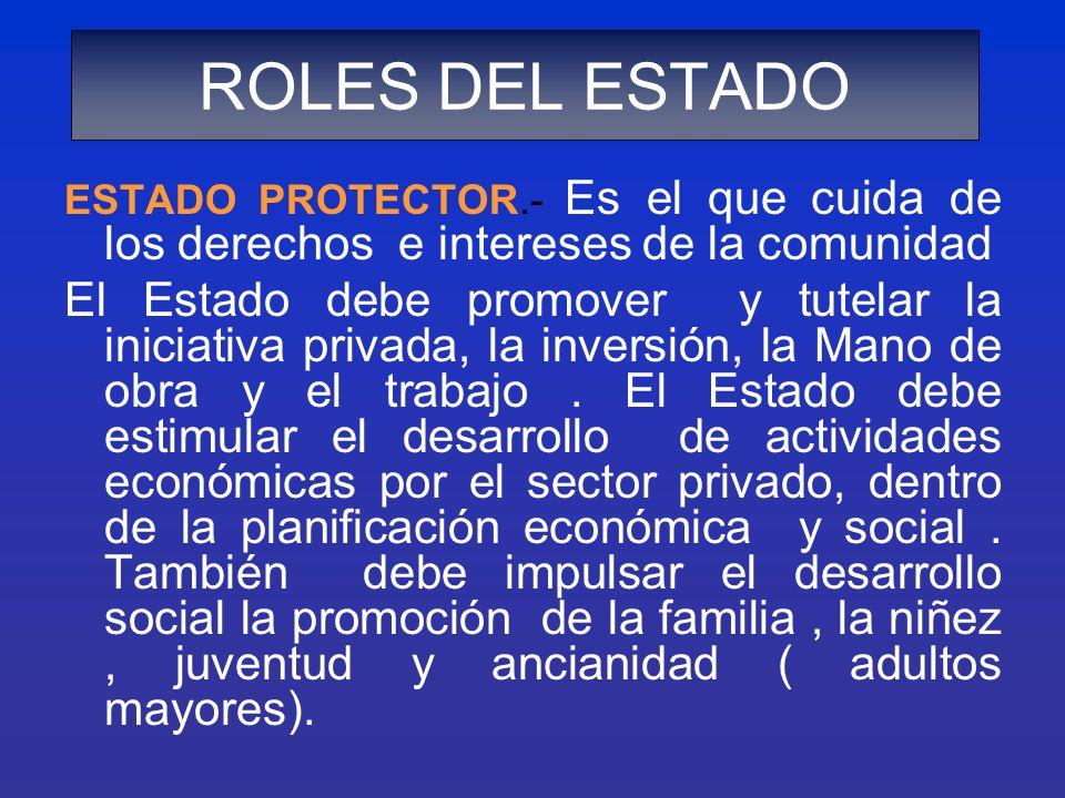 ROLES DEL ESTADO ESTADO PROTECTOR.- Es el que cuida de los derechos e intereses de la comunidad.
