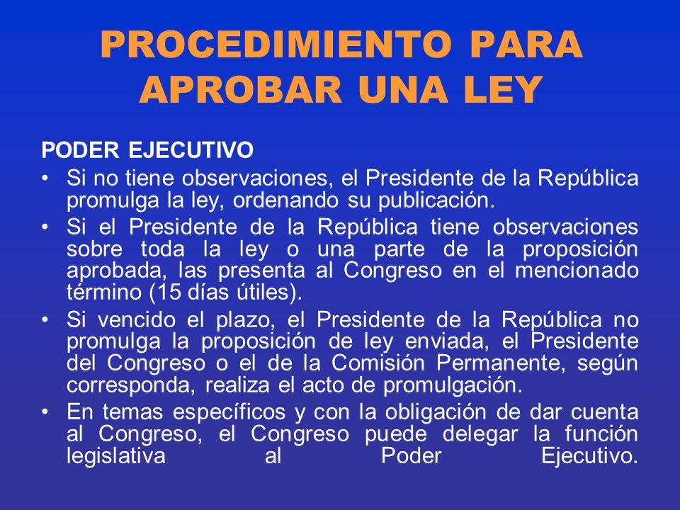 PROCEDIMIENTO PARA APROBAR UNA LEY