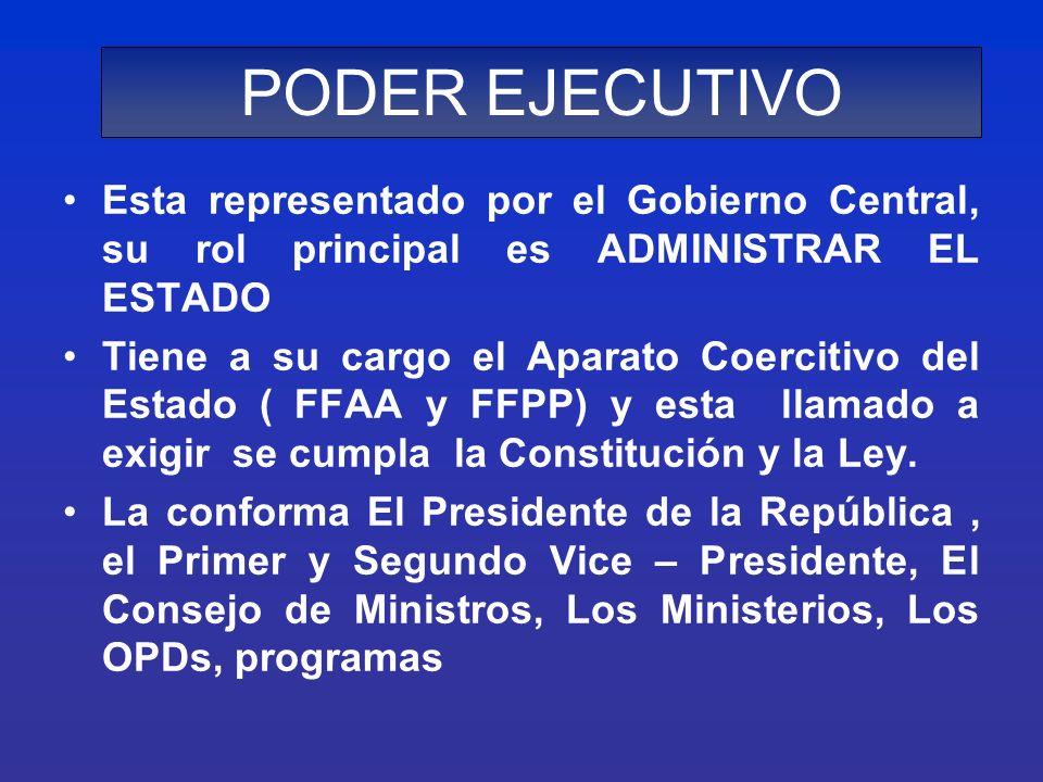 PODER EJECUTIVOEsta representado por el Gobierno Central, su rol principal es ADMINISTRAR EL ESTADO.