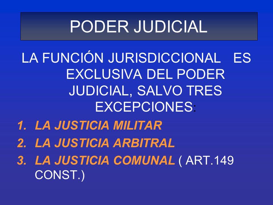PODER JUDICIALLA FUNCIÓN JURISDICCIONAL ES EXCLUSIVA DEL PODER JUDICIAL, SALVO TRES EXCEPCIONES: