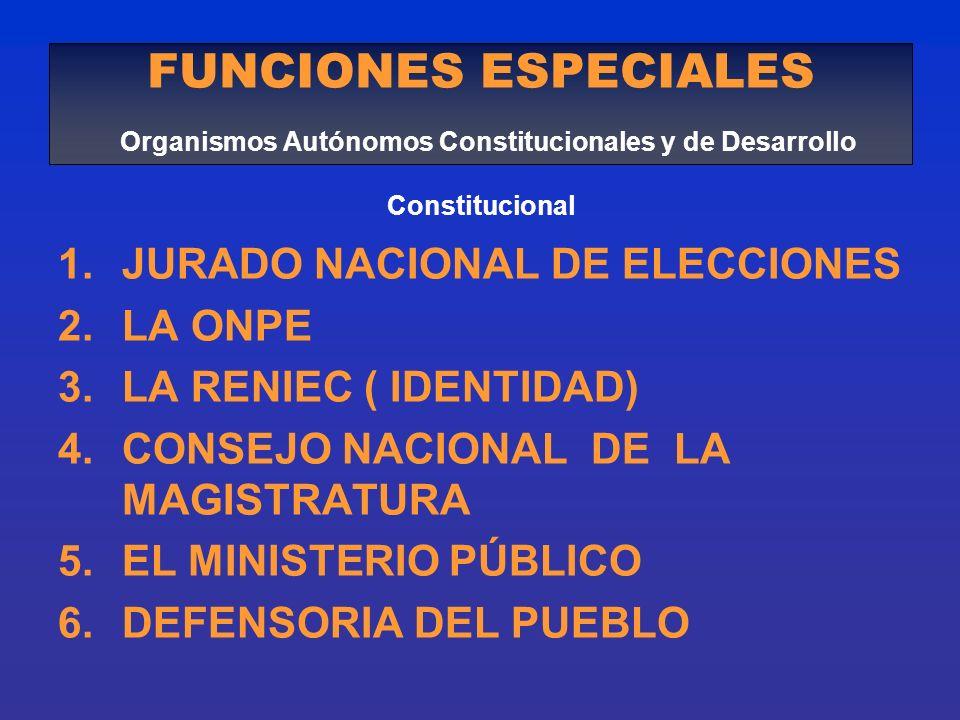 FUNCIONES ESPECIALES Organismos Autónomos Constitucionales y de Desarrollo Constitucional
