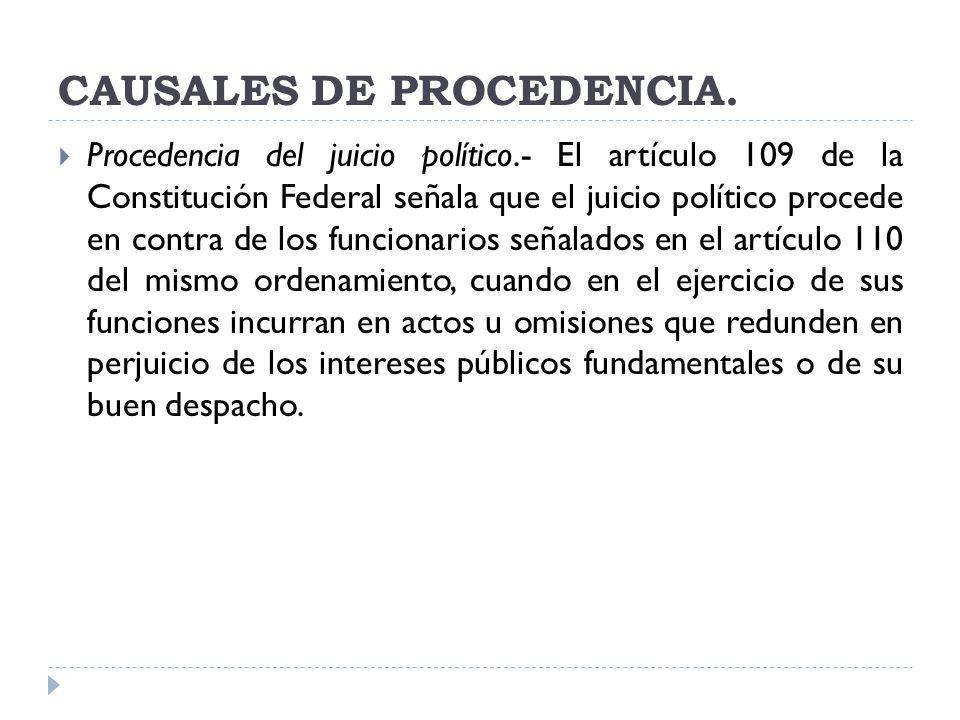 CAUSALES DE PROCEDENCIA.