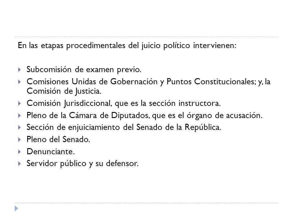 En las etapas procedimentales del juicio político intervienen: