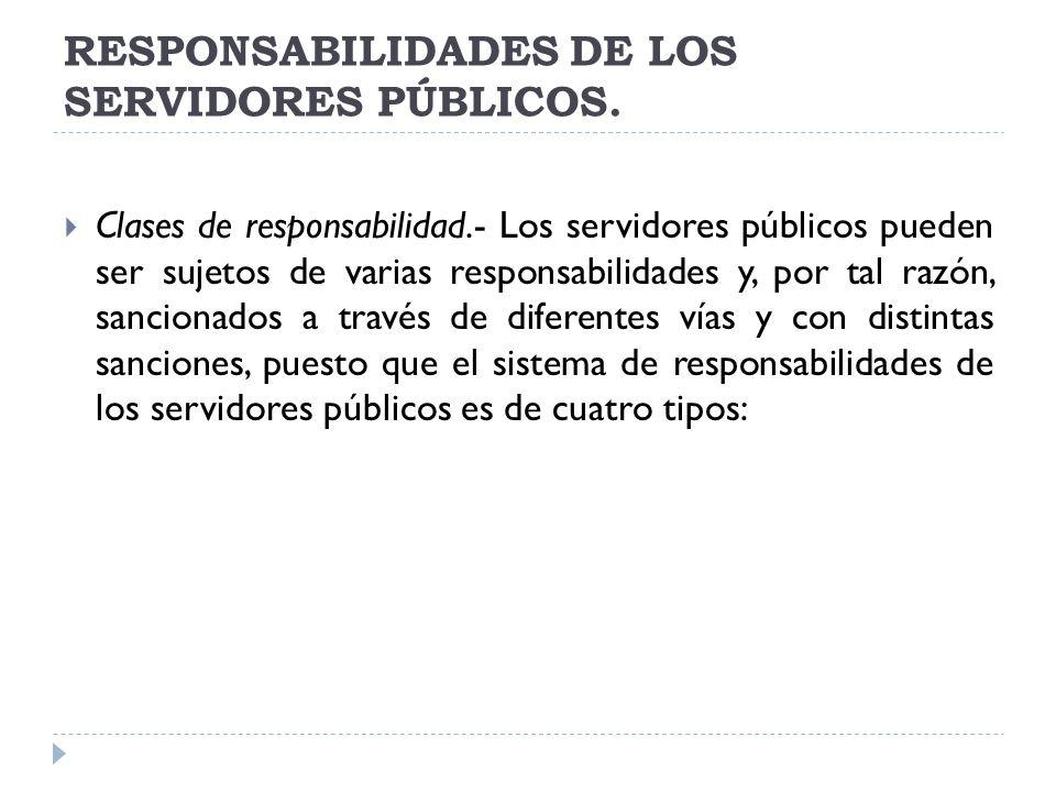RESPONSABILIDADES DE LOS SERVIDORES PÚBLICOS.