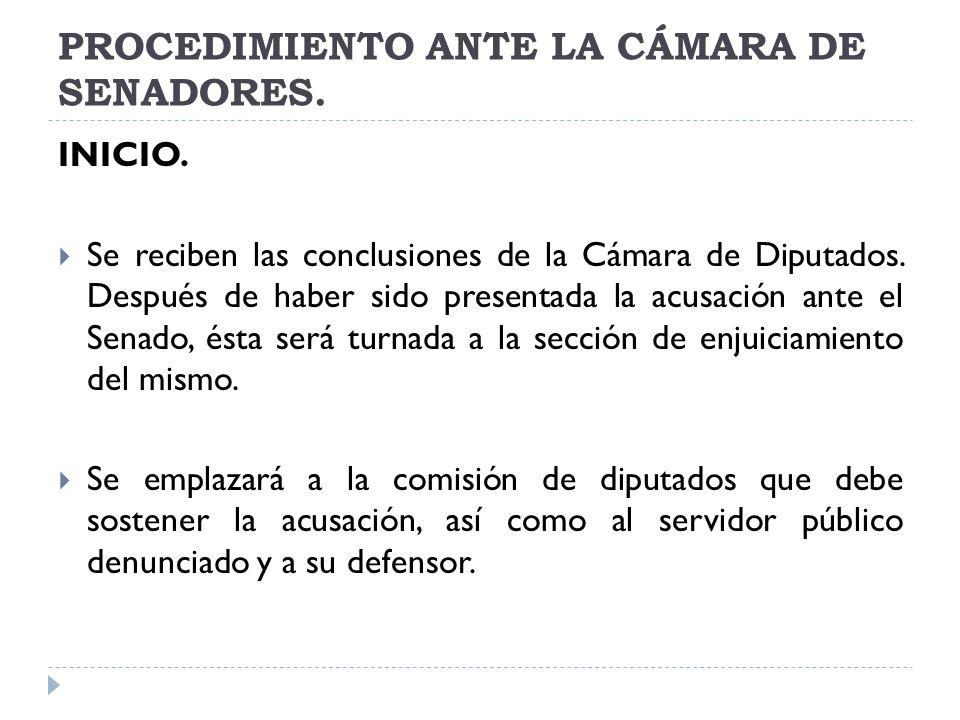 PROCEDIMIENTO ANTE LA CÁMARA DE SENADORES.