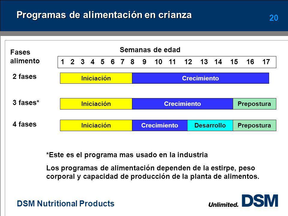 Programas de alimentación en crianza